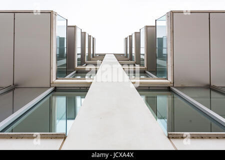 Low angle view of balconies on Luna House, Bermondsey, London, England, United Kingdom - Stock Image