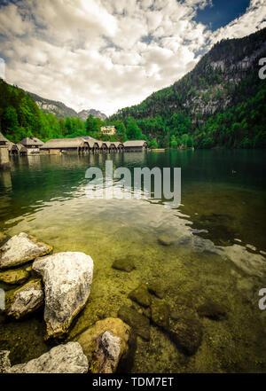 Idyllic alpine lake koenigsee in Berchtesgaden, Bavaria, Germany - Stock Image