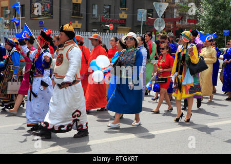 People in traditional costumes, Independence day manifestation, Ulan Bator, Mongolia - Stock Image