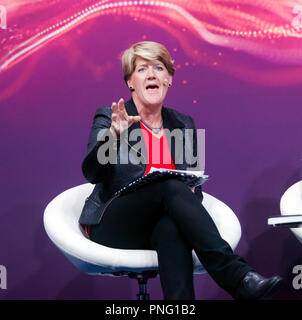 Clare Balding leading a discussion  entitled 'Technology in Sport: Is it always a good thing?'  On the main stage at New Scientist Live. - Stock Image