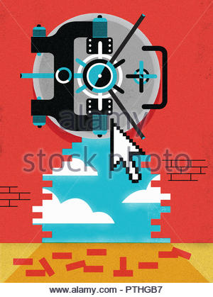 Computer cursor pointing to bank vault in wall with hole through to sky - Stock Image