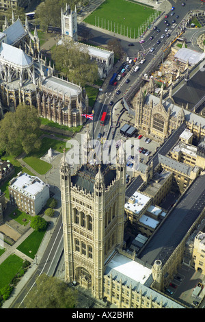Aerial view of the Victoria Tower at the southern end of the Houses of Parliament in London, also showing the Union - Stock Image