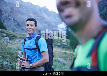 Smiling hiker friends, Mont Cervin, Matterhorn, Valais, Switzerland - Stock Image