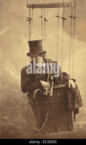 Félix Nadar in Gondola of Balloon; Nadar [Gaspard Félix Tournachon], French, 1820 - 1910; about 1863; - Stock Image