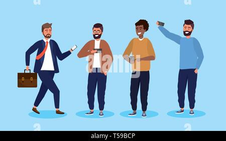 set men with smartphone technology and hairstyle vector illustration - Stock Image