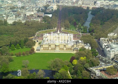 Aerial view of the gardens at the rear of Buckingham Palace in London which is the home of Queen Elizabeth - Stock Image