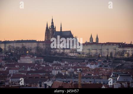 Prague Castle at sunset - Stock Image