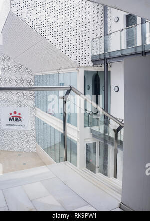 Badajoz, Spain - April 21, 2018: Badajoz Fine Arts Museum building indoors. Interior patio - Stock Image