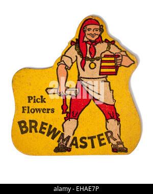 Vintage Beermat Advertising Flowers Brewmaster Beer - Stock Image