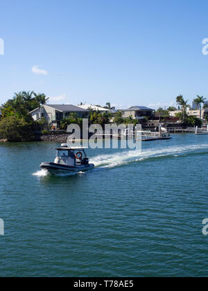 Police Boat On The Nerang River On The Gold Coast - Stock Image