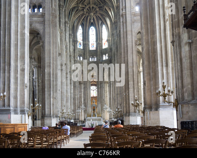Interior of Saint Eustache Church, Les Halles Paris France - Stock Image