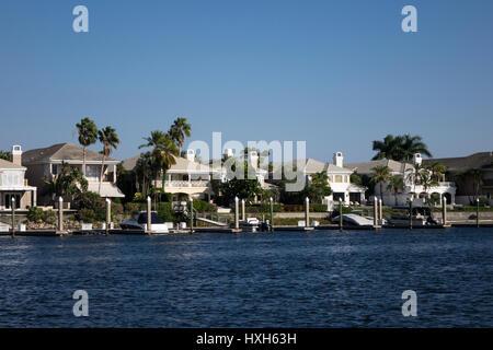 Tampa Bay luxury riverside houses, Florida, USA - Stock Image