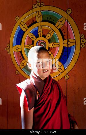 Bumthang Bhutan - October 2011: Young monk at Jakar Dzong in Jakar, Bhutan - Stock Image