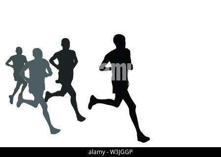 group of marathon runners silhouettes - vector - Stock Image