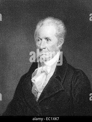 Gilbert Stuart (1755-1828) on engraving from 1834. American painter from Rhodes Island. - Stock Image