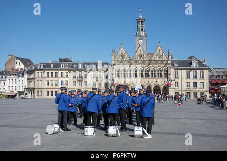Band members assembled in Place de l' Hotel de Ville St Quentn Aisne France for parade on Victory in Europe day on 8th May 2018 - Stock Image