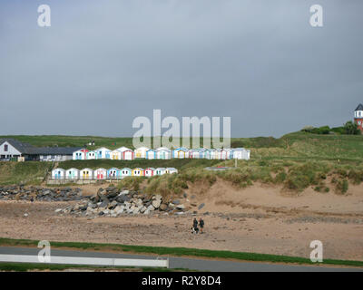Couple walking their dog on Summerleaze Beach with the new colourful beach huts in the background - Stock Image
