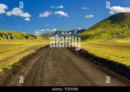 Road, Curves, Lowlands, Highlands, Iceland, Europe - Stock Image