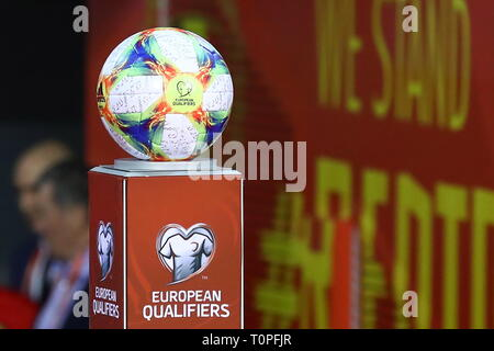 BRUSSELS, BELGIUM – MARCH 21, 2019: Official match ball ahead of the UEFA Euro 2020 qualifying football game between Belgium and Russia at King Baudouin Stadium. Anton Novoderezhkin/TASS - Stock Image