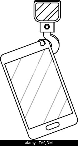 cellphone with crane hook icon cartoon vector illustration graphic design - Stock Image