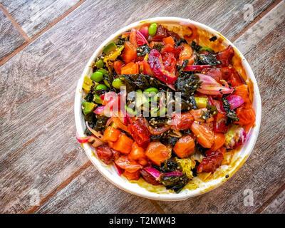 A colourful Hawaii poke bowl . - Stock Image