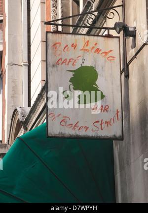 Bar Linda Cafe Bar sign Baker Street London - Stock Image