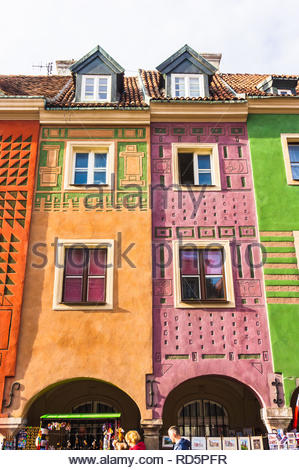 Poznan, Poland - November 12, 2018: High colorful buildings on the old city square. - Stock Image