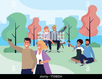 social people couple with smartphone in the park vecctor illustration - Stock Image