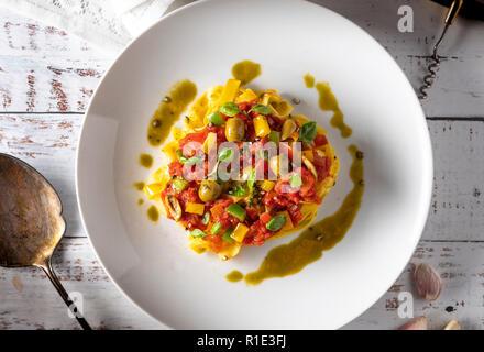 Flat lay bowl of Italian Tagliatelle pasta - Stock Image
