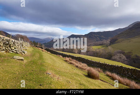 Looking down towards Newlands Beck from below High Snab Bank in the English Lake District, UK. - Stock Image