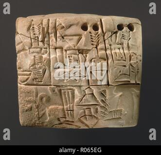 6369. Early cuneiform tablet with impression of hunting scene,  Uruk III style dating c. 3100-2900 BC. - Stock Image