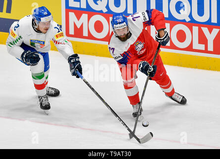Bratislava, Slovakia. 17th May, 2019. From left IVAN TAUFERER of Italy and MILAN GULAS of Czech Republic, in action during the Ice Hockey World Championships group B match between Czech Republic and Italy in Bratislava, Slovakia, May 17, 2019. Credit: Vit Simanek/CTK Photo/Alamy Live News - Stock Image