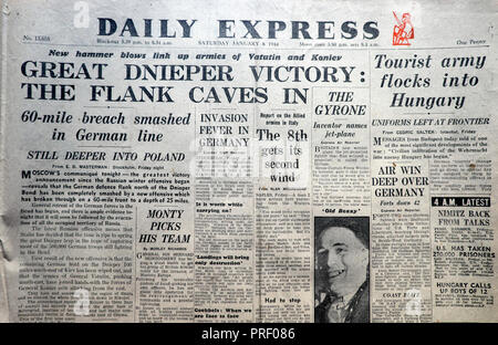 Front page headlines of the Daily Express newspaper 'Great Dnieper Victory The Flank Caves In' in London  England UK - Stock Image
