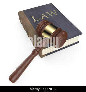 Vintage Blue leather and cloth Law book and hammer. Worn texture.  3D render. - Stock Image