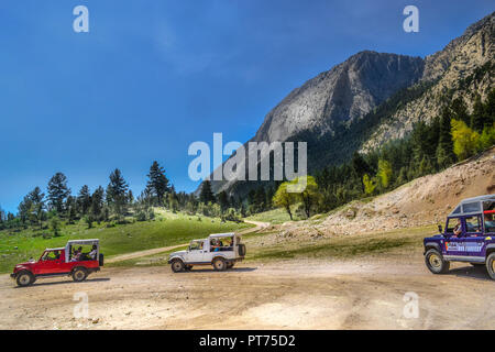 Safari game drive at Turkey; kemer with jeep cars - Stock Image