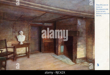 The Room in which Shakespeare was born, Stratford-on-Avon, Warwickshire. - Stock Image