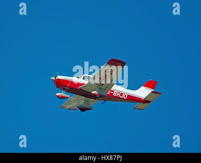 Afternoon light aircraft flying out of Inverness Dalcross Airport in Scotland. UK - Stock Image