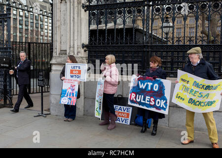 Pro-Brexiters protest outside the UK Parliament in a week that Prime Minister Theresa May asks for MPs to back her Brexit deal, on 14th January 2019, in Westminster, London, England. - Stock Image
