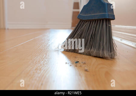 Broom sweepings with dust and dirt on the wood floor with copy space - Stock Image