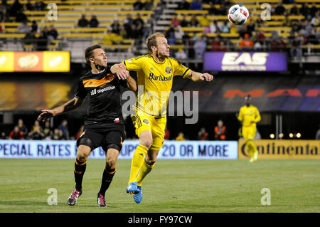 Mapfre stadium, USA. 23rd April, 2016. .Columbus Crew SC defender Tyson Wahl (2) and Houston Dynamo forward Andrew - Stock Image