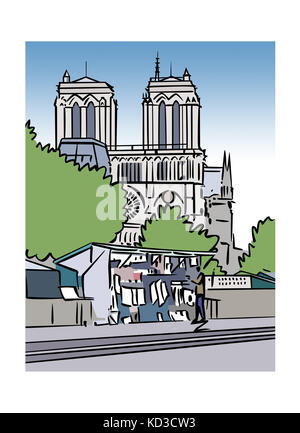 Illustration of a book stall and the Notre-Dame Cathedral in Paris, France - Stock Image