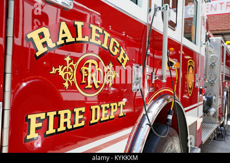 Raleigh Fire Department fire truck closeup, North Carolina. - Stock Image