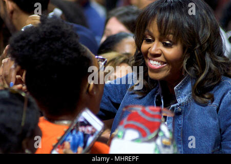 Philadelphia, USA. 2nd May 2018Michelle Obama is joined by students, stars, performing artists and athletes for the fifth  annual College Signing Day, hosted by Reach Higher, at Temple University's Liacouras Center in North Philadelphia, on May 2, 2018. The Former First Lady is joined by 7.000 students and (on stage) stars, performing artists and athletes including Bradley Cooper, Rebel Wilson, Zendaya, Robert De Niro, Camila Cabello, Questlove, Anthony Mackie and Janelle Monae. Credit: Bastiaan Slabbers/Alamy Live News - Stock Image