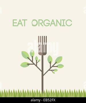 Eat organic vector with text - Stock Image