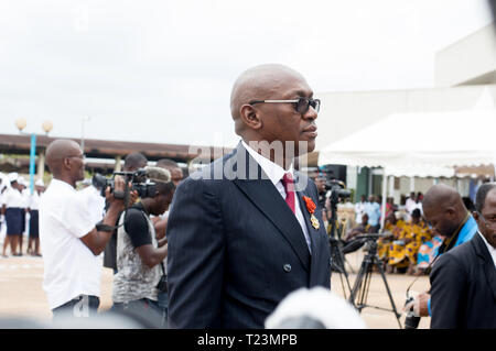 Abidjan, Ivory Coast - August 3, 2017: arrival of the godfather at the end of cycle ceremony for marine students - Stock Image