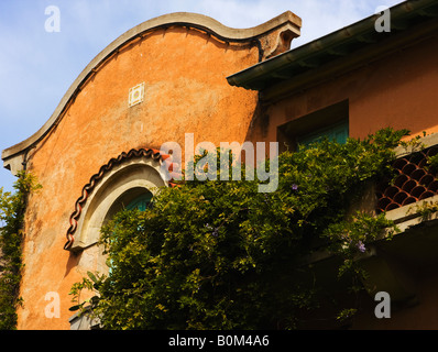 building facade charming seaport village of Collioure France - Stock Image