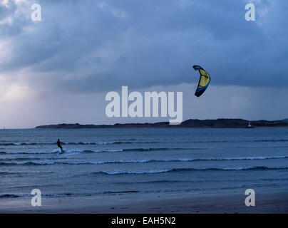 Kite surfer on a wintry day, Instow, Devon, UK - Stock Image