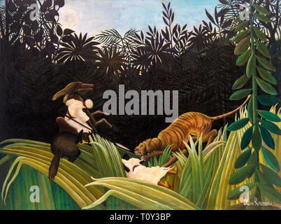 Henri Rousseau, Scouts Attacked by a Tiger, 1904 - Stock Image