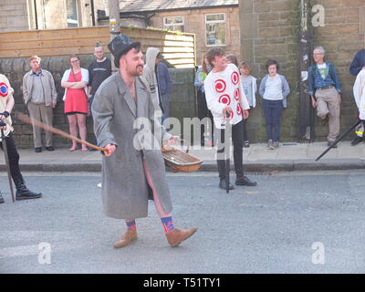 'Tosspot' character in the Midgley Pace Egg Play at Hebden Bridge, a traditional mumming play performed for hundreds of years in the Calder Valley - Stock Image