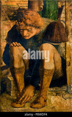 First martyrdom of St. Sebastian with a crouching Archer who takes off his trousers by Paduan painter 15th Century Italy Italian - Stock Image